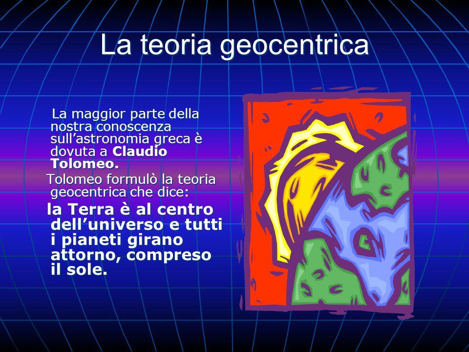 La teoria geocentrica Tolomeo formulò la teoria geocentrica che dice: