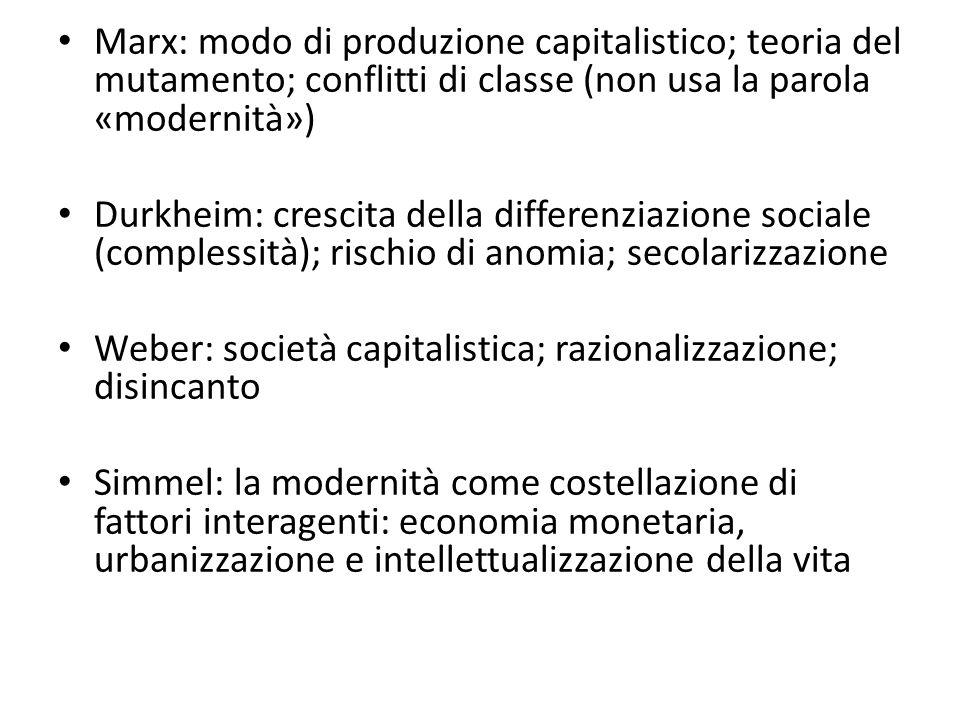 Marx: modo di produzione capitalistico; teoria del mutamento; conflitti di classe (non usa la parola «modernità»)