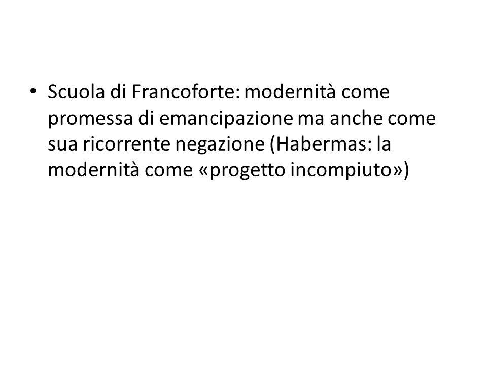 Scuola di Francoforte: modernità come promessa di emancipazione ma anche come sua ricorrente negazione (Habermas: la modernità come «progetto incompiuto»)