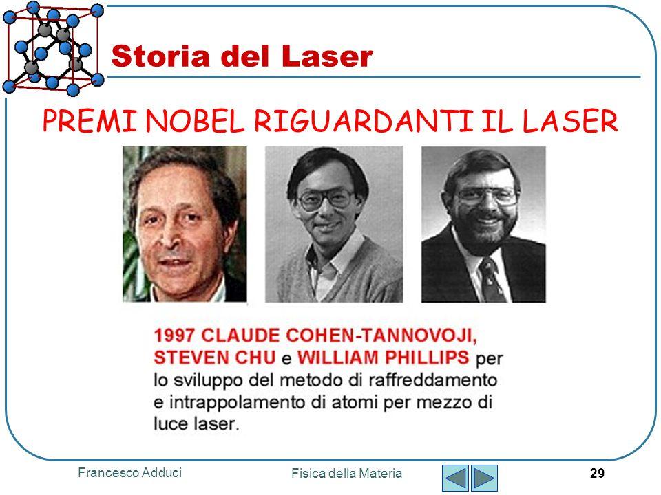 Storia del Laser PREMI NOBEL RIGUARDANTI IL LASER Francesco Adduci