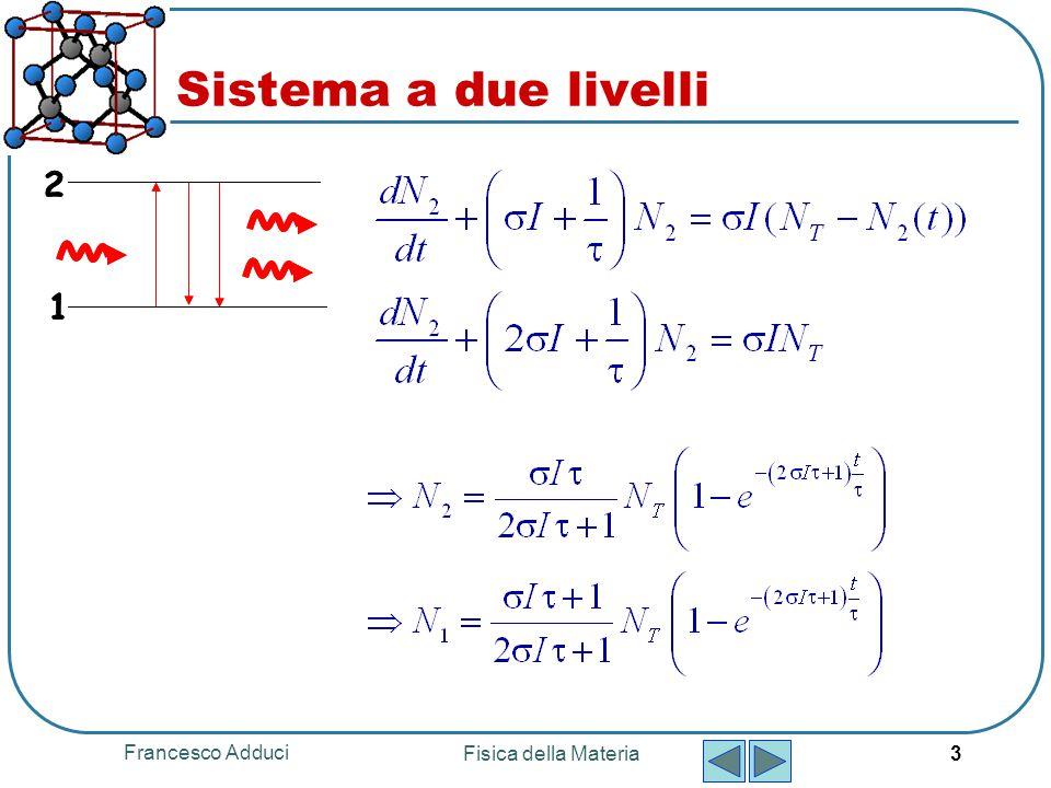 Sistema a due livelli 1 2 Francesco Adduci Fisica della Materia