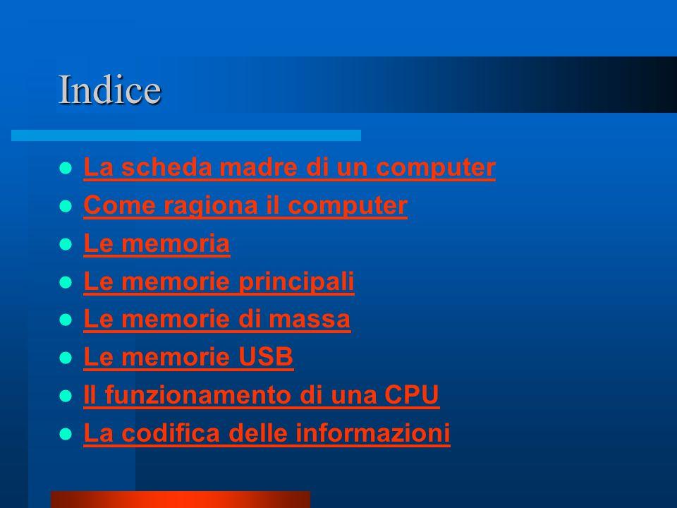 Indice La scheda madre di un computer Come ragiona il computer