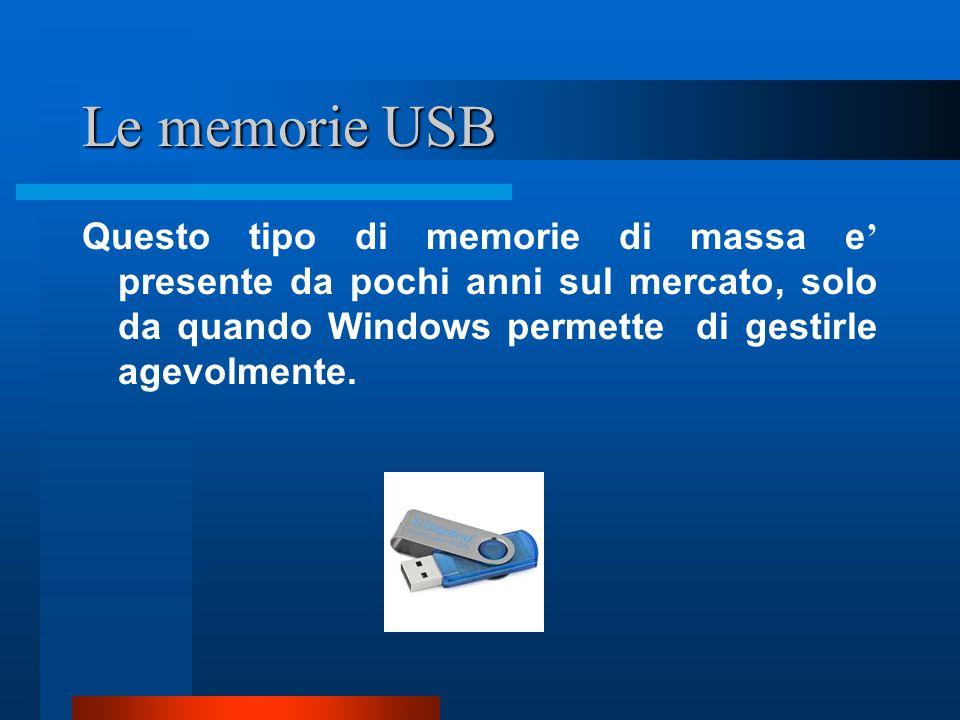 Le memorie USB Questo tipo di memorie di massa e' presente da pochi anni sul mercato, solo da quando Windows permette di gestirle agevolmente.