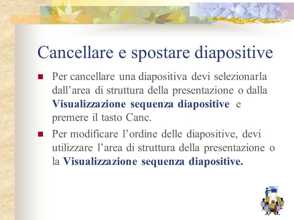 Cancellare e spostare diapositive