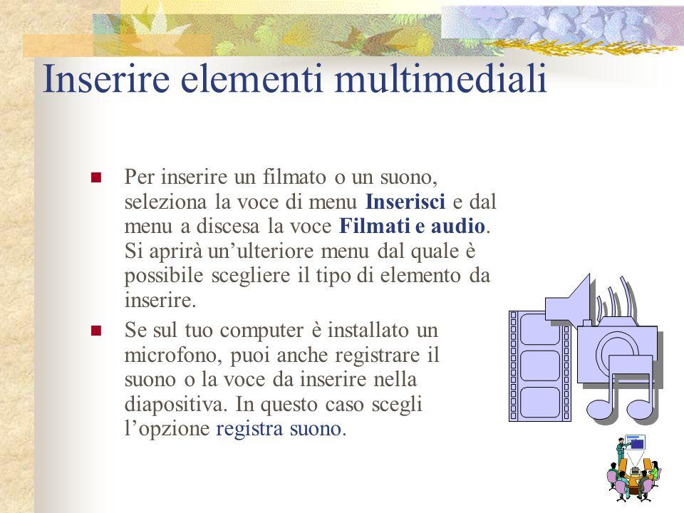 Inserire elementi multimediali