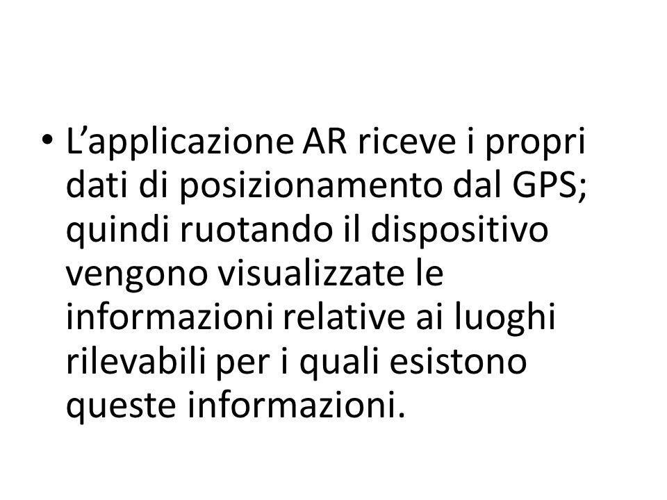 L'applicazione AR riceve i propri dati di posizionamento dal GPS; quindi ruotando il dispositivo vengono visualizzate le informazioni relative ai luoghi rilevabili per i quali esistono queste informazioni.