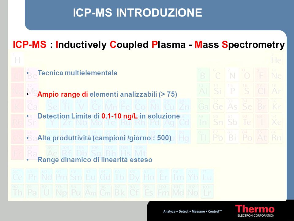 ICP-MS : Inductively Coupled Plasma - Mass Spectrometry