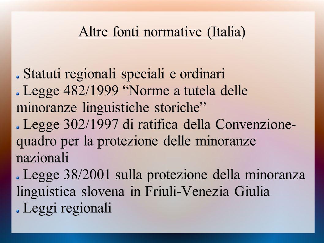 Altre fonti normative (Italia)