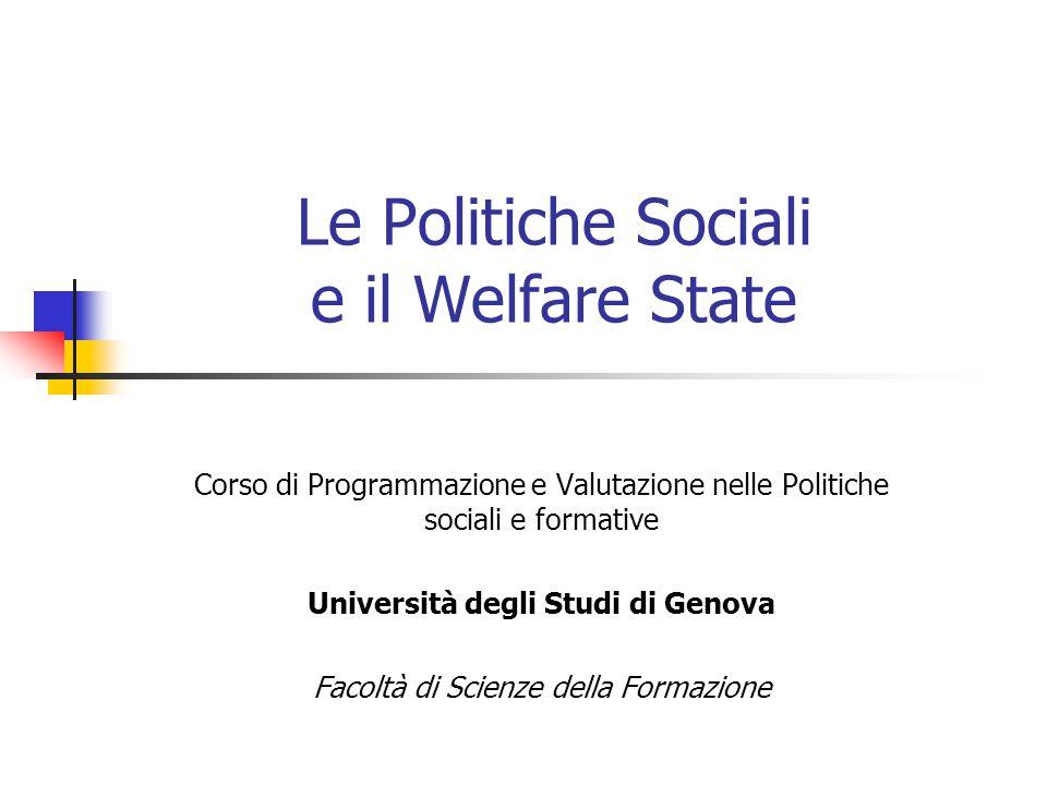 Le Politiche Sociali e il Welfare State