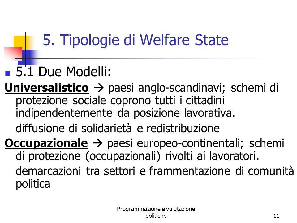 5. Tipologie di Welfare State