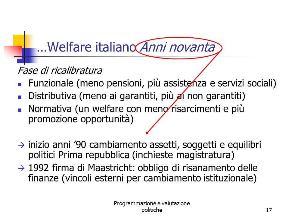 …Welfare italiano Anni novanta