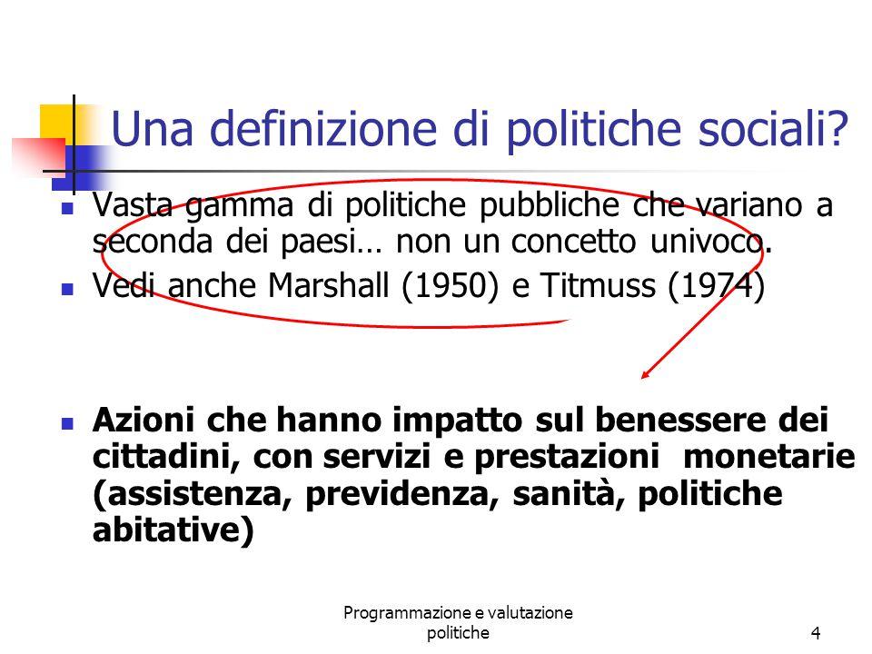 Una definizione di politiche sociali