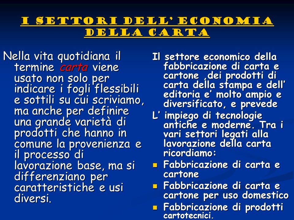 I settori dell' economia della carta