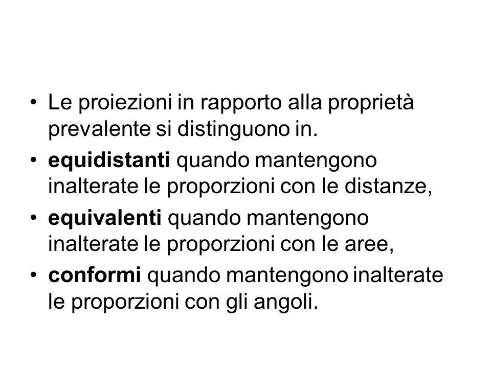 Le proiezioni in rapporto alla proprietà prevalente si distinguono in.