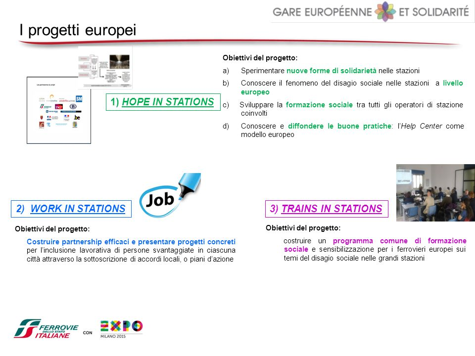 I progetti europei 1) HOPE IN STATIONS 2) WORK IN STATIONS
