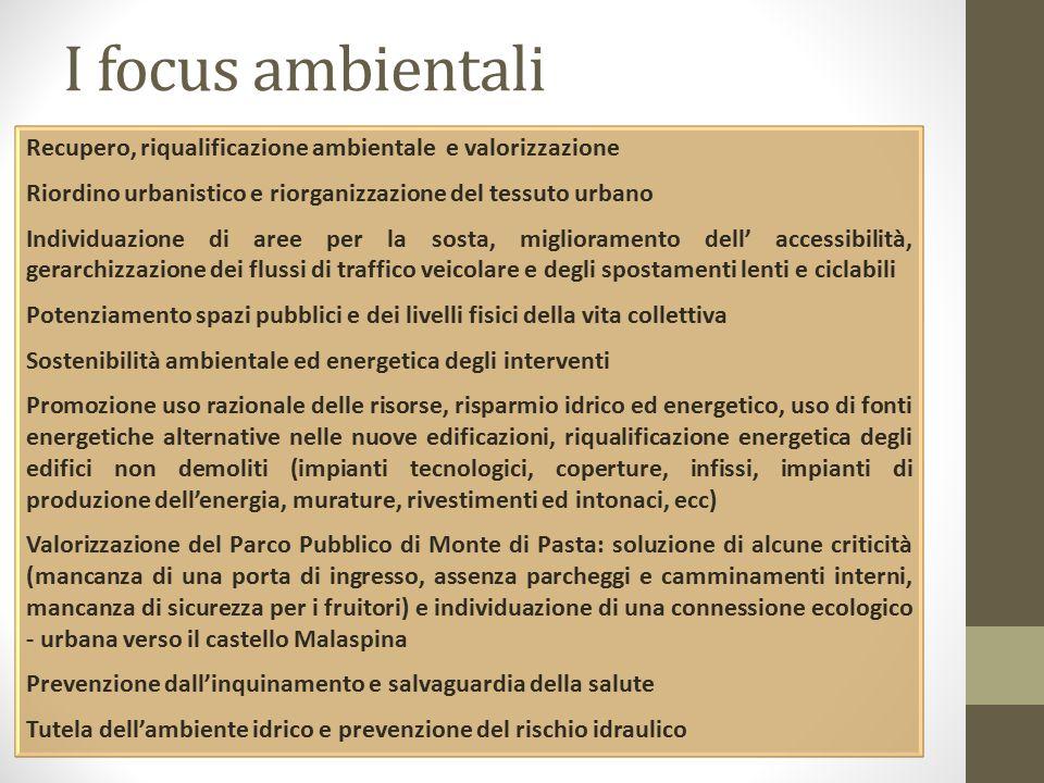 I focus ambientali Recupero, riqualificazione ambientale e valorizzazione. Riordino urbanistico e riorganizzazione del tessuto urbano.