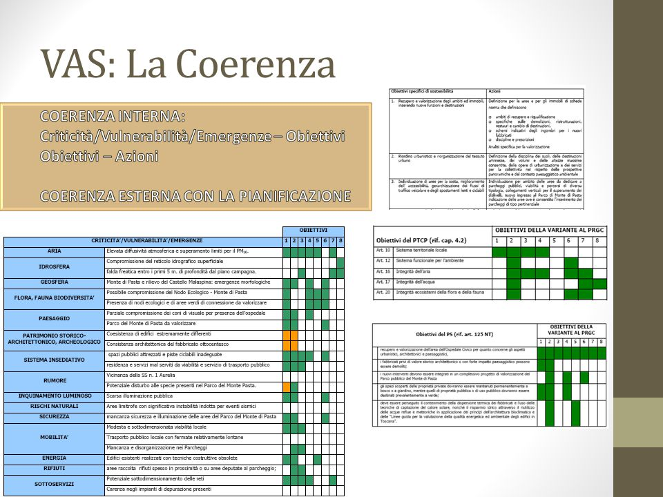 VAS: La Coerenza COERENZA INTERNA: