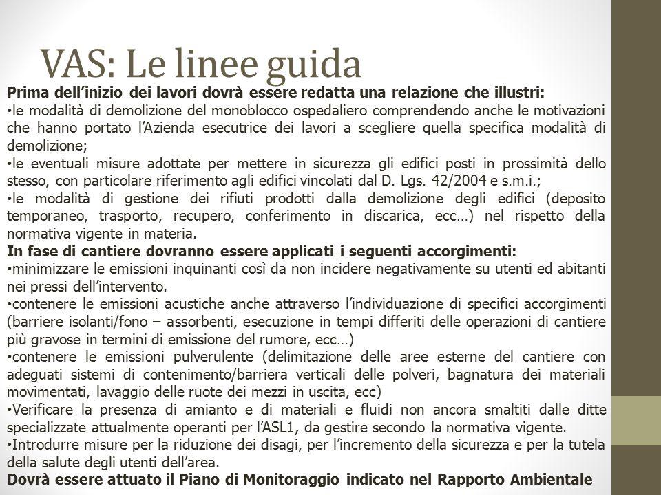 VAS: Le linee guida Prima dell'inizio dei lavori dovrà essere redatta una relazione che illustri: