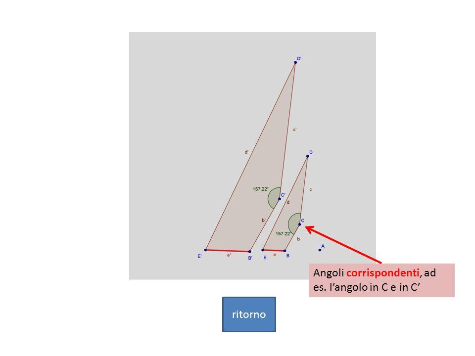 Angoli corrispondenti, ad es. l'angolo in C e in C'