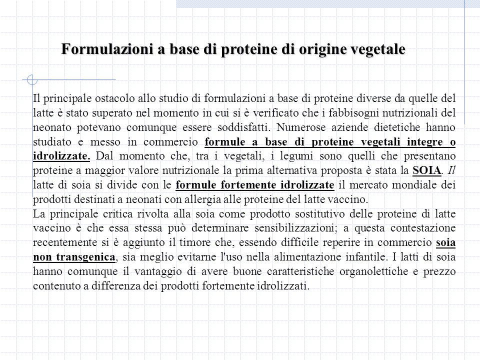 Formulazioni a base di proteine di origine vegetale