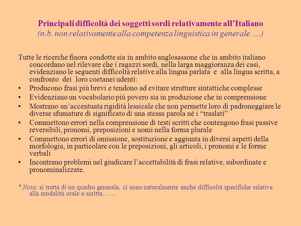 Principali difficoltà dei soggetti sordi relativamente all'Italiano (n