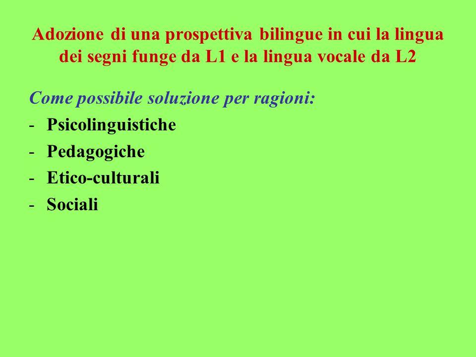 Adozione di una prospettiva bilingue in cui la lingua dei segni funge da L1 e la lingua vocale da L2