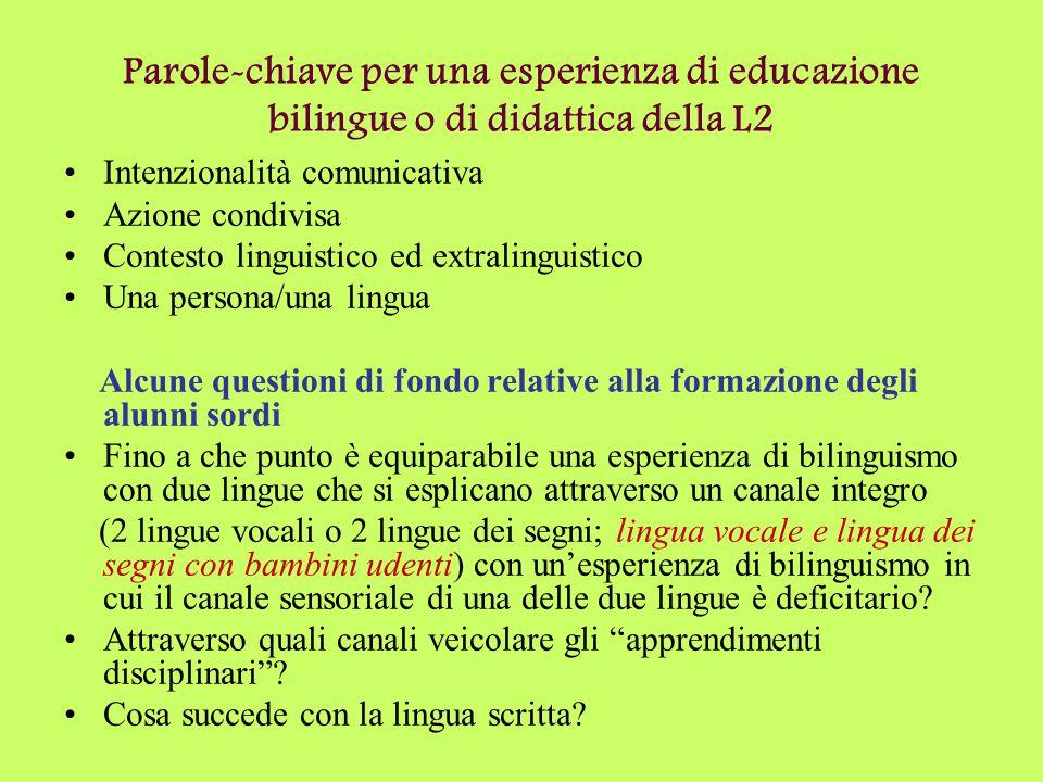 Parole-chiave per una esperienza di educazione bilingue o di didattica della L2