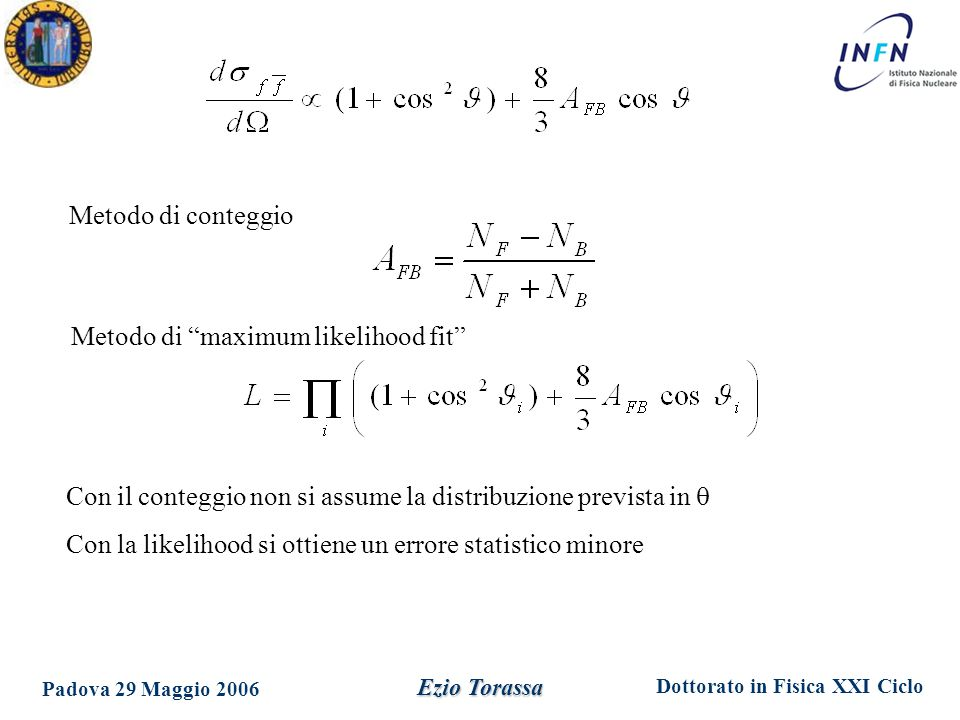 Metodo di maximum likelihood fit