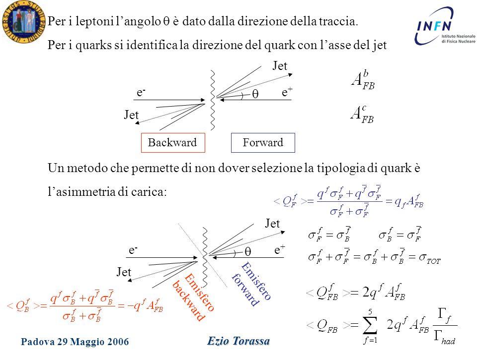 Per i leptoni l'angolo q è dato dalla direzione della traccia.