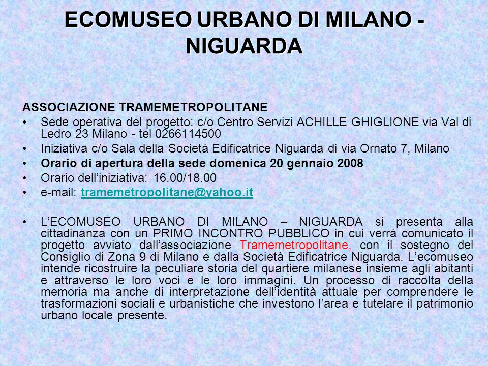 ECOMUSEO URBANO DI MILANO - NIGUARDA