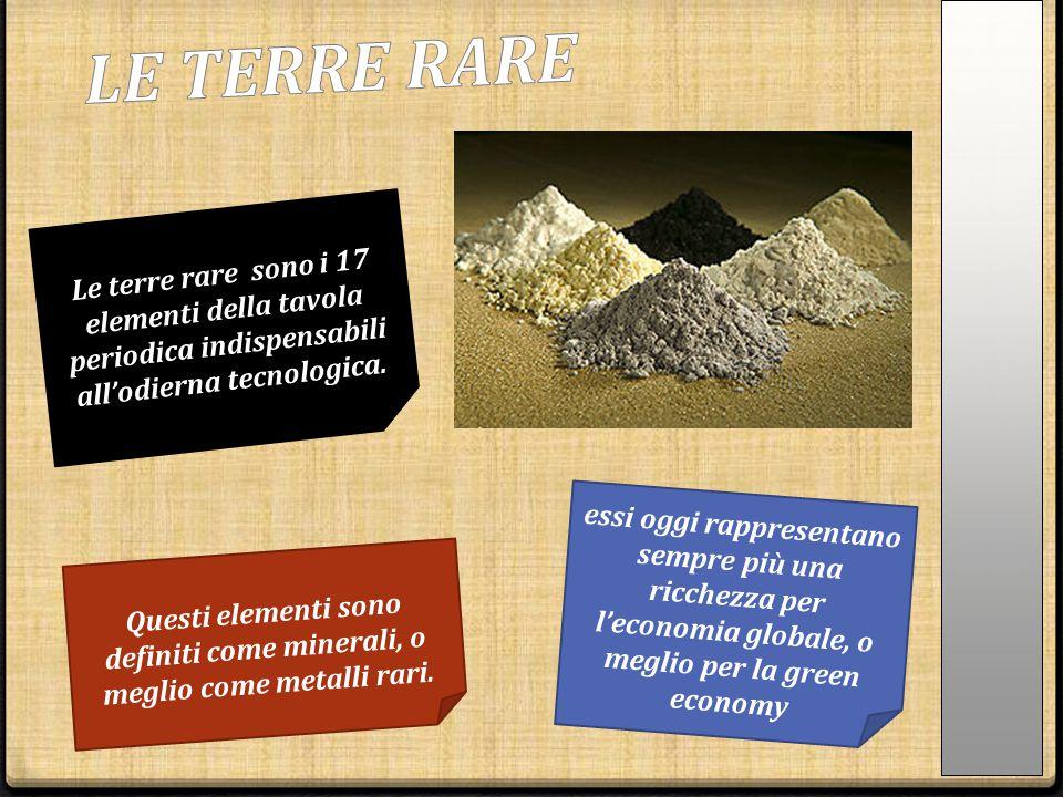 LE TERRE RARE Le terre rare sono i 17 elementi della tavola periodica indispensabili all'odierna tecnologica.