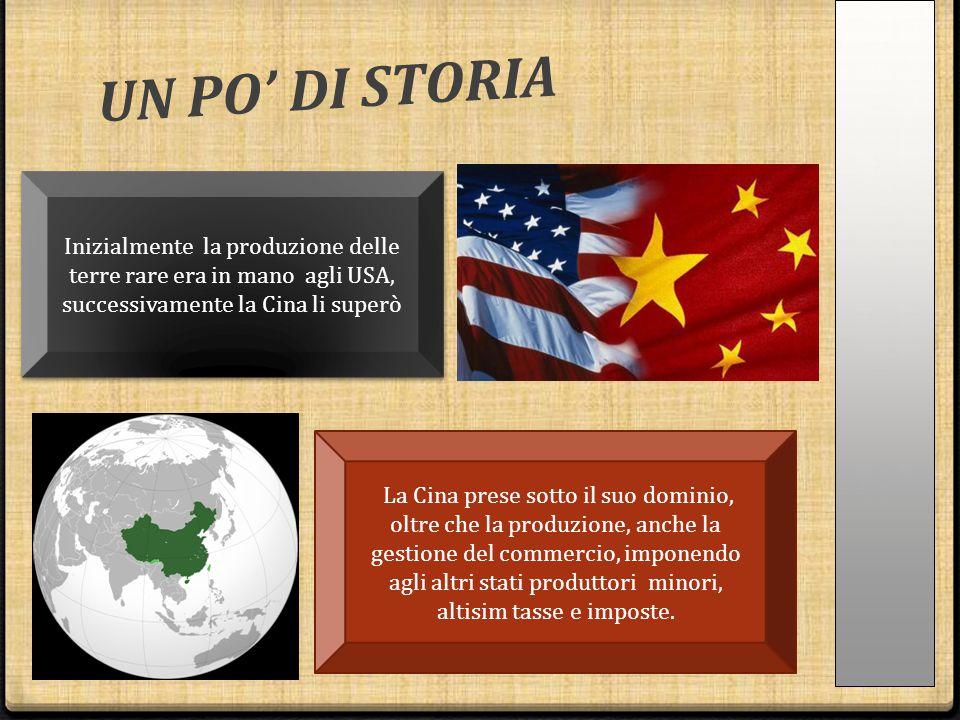 UN PO' DI STORIA Inizialmente la produzione delle terre rare era in mano agli USA, successivamente la Cina li superò.