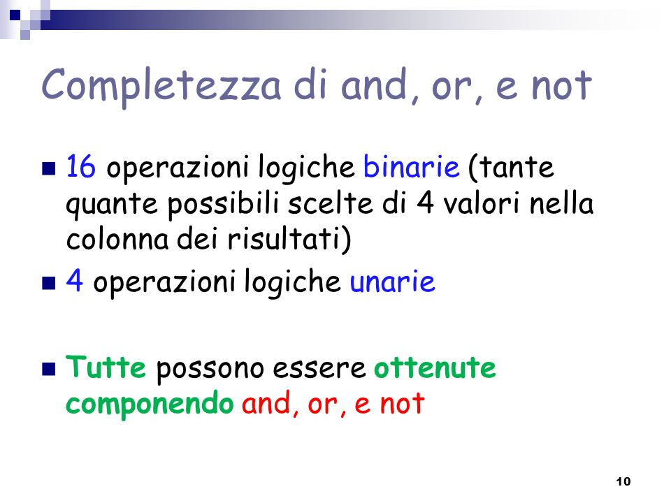 Completezza di and, or, e not