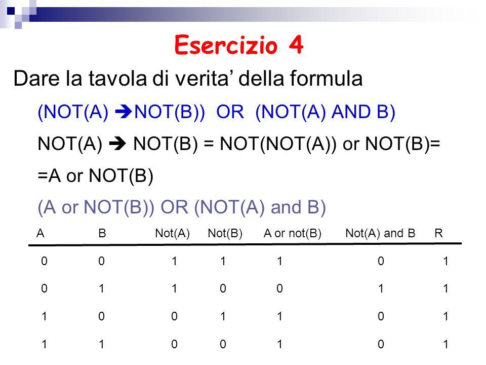 Esercizio 4 Dare la tavola di verita' della formula