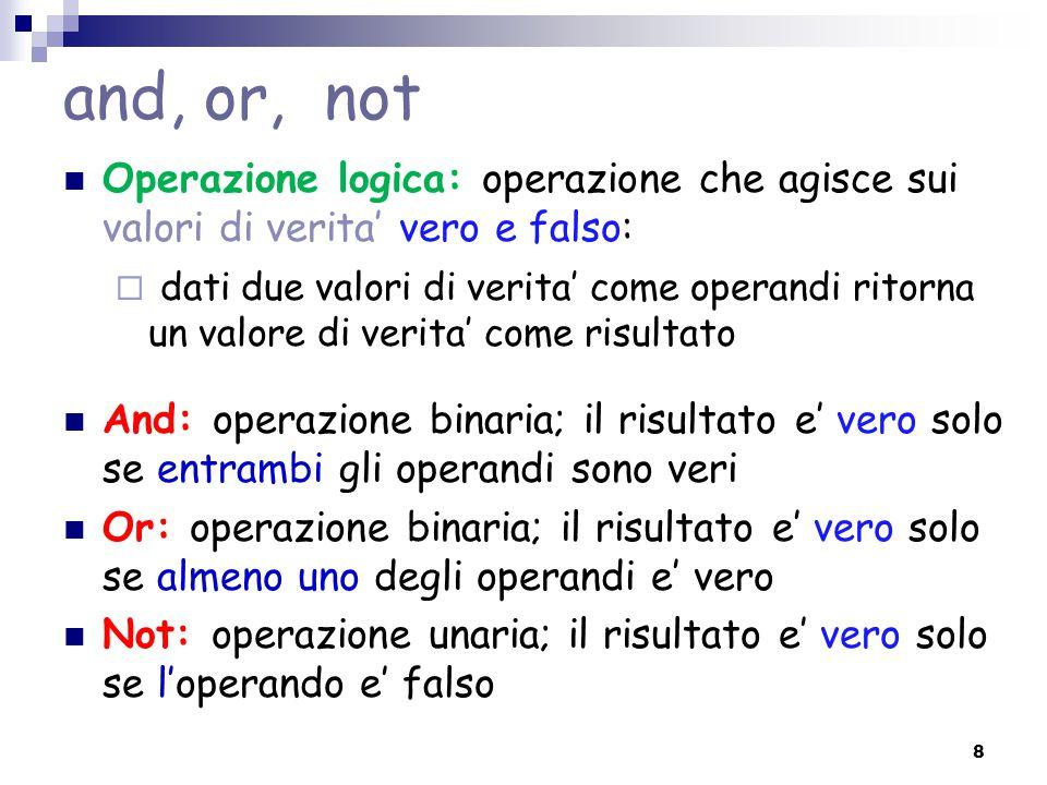 and, or, not Operazione logica: operazione che agisce sui valori di verita' vero e falso: