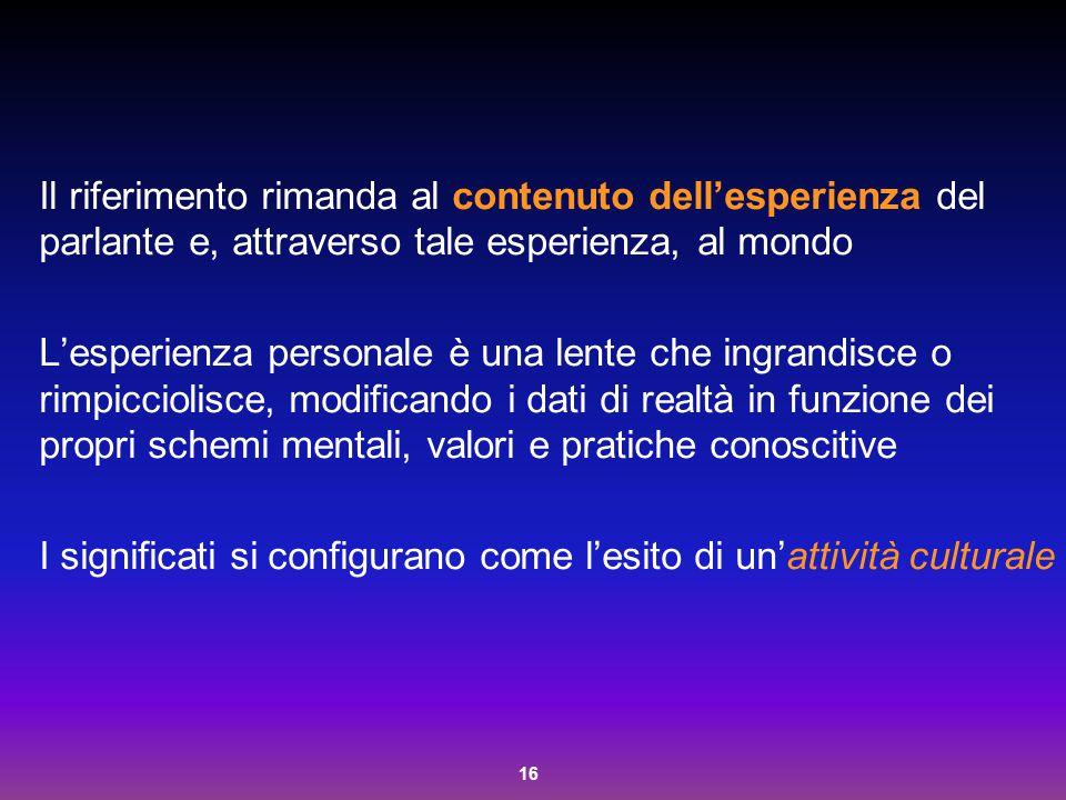 Il riferimento rimanda al contenuto dell'esperienza del parlante e, attraverso tale esperienza, al mondo