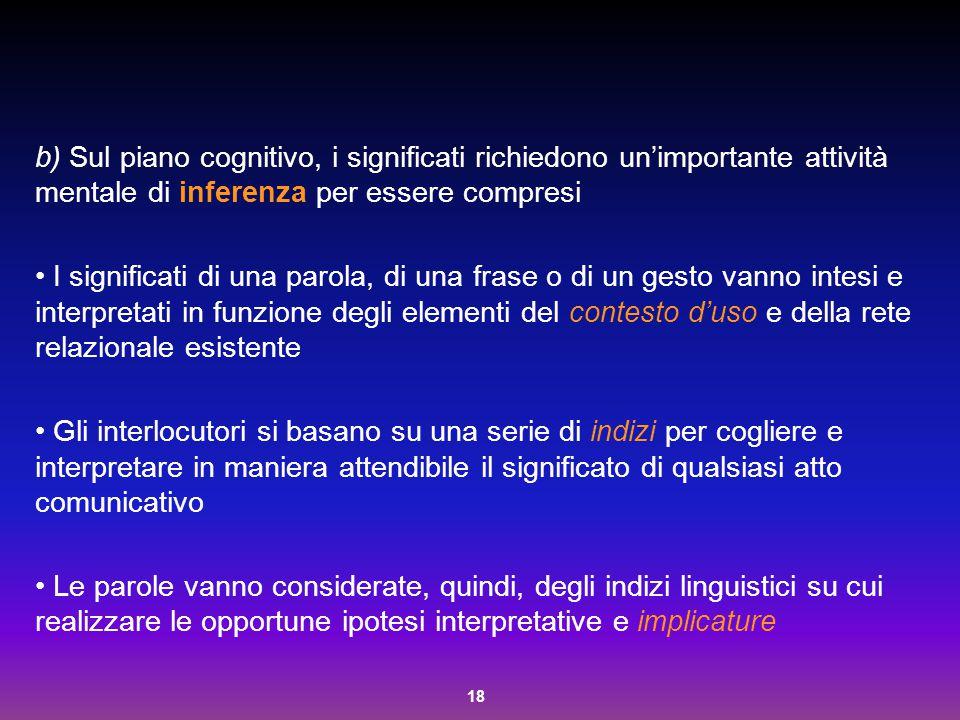 b) Sul piano cognitivo, i significati richiedono un'importante attività mentale di inferenza per essere compresi