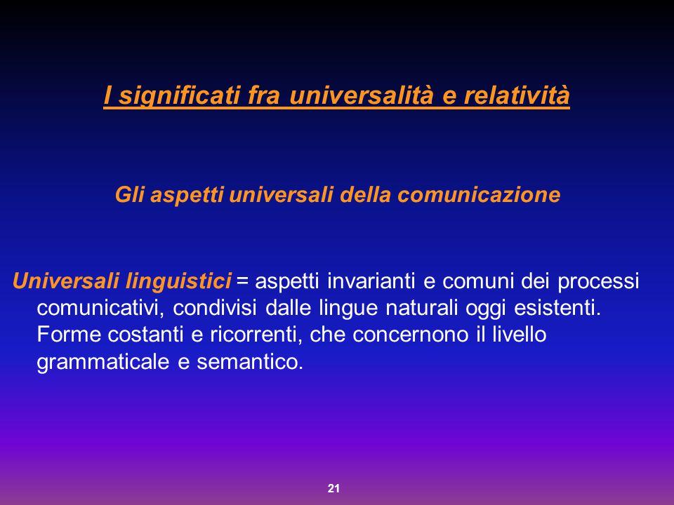 I significati fra universalità e relatività