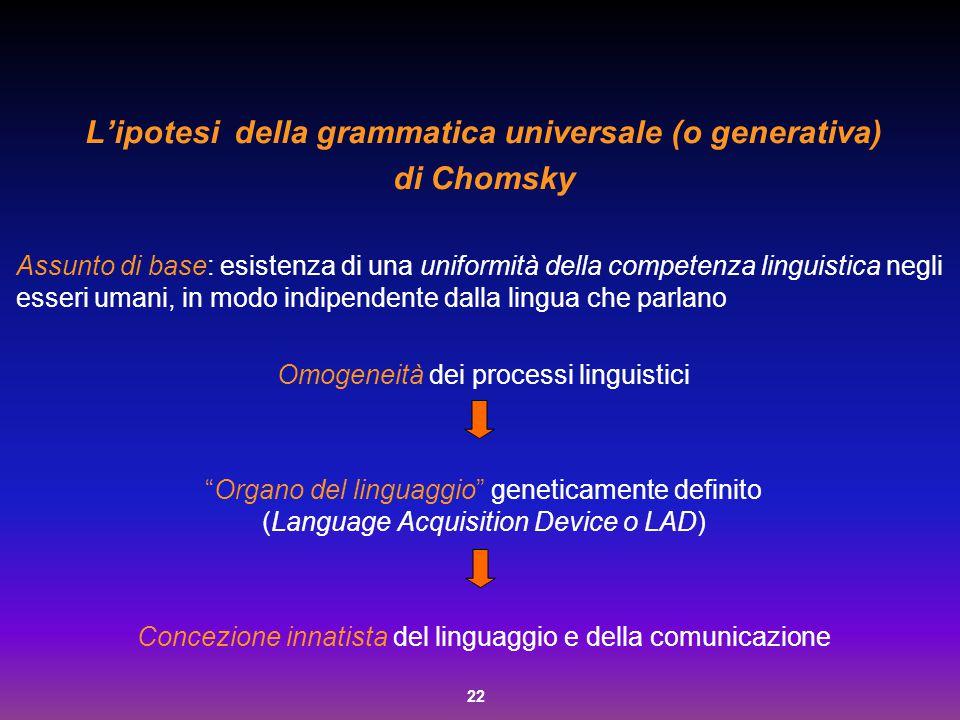 L'ipotesi della grammatica universale (o generativa)