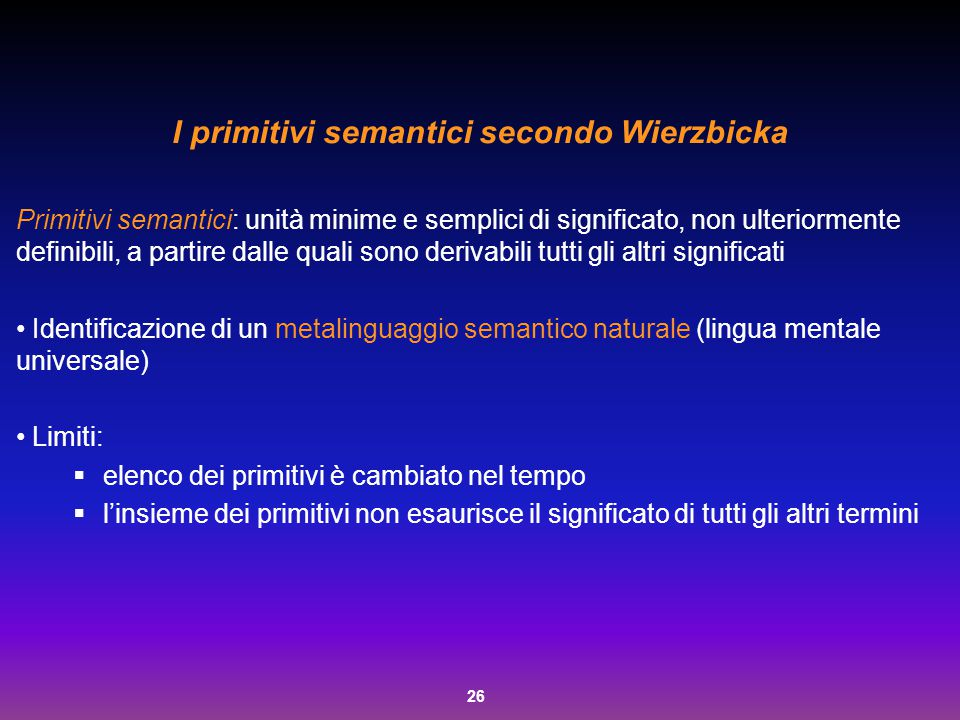 I primitivi semantici secondo Wierzbicka