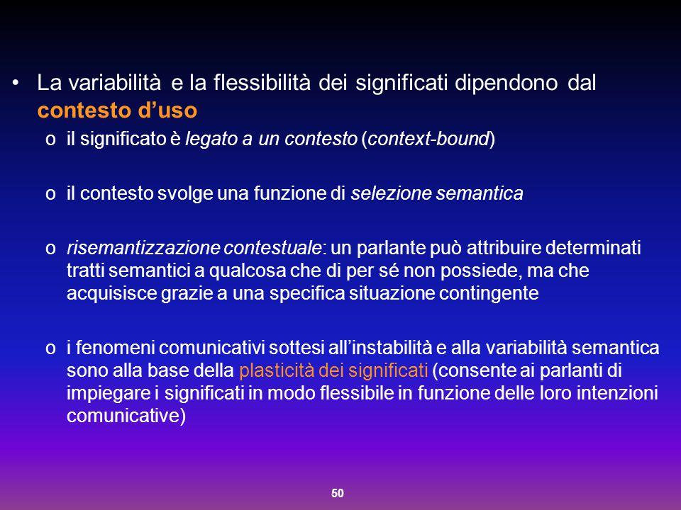 La variabilità e la flessibilità dei significati dipendono dal contesto d'uso