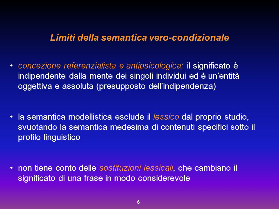 Limiti della semantica vero-condizionale