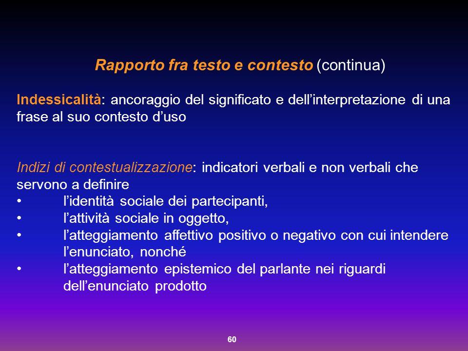 Rapporto fra testo e contesto (continua)