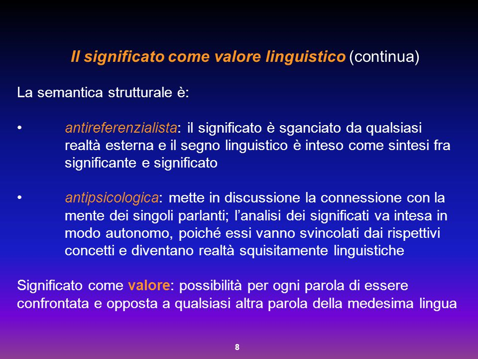 Il significato come valore linguistico (continua)