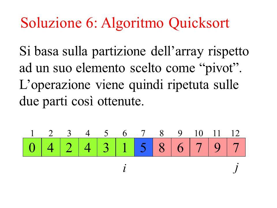 Soluzione 6: Algoritmo Quicksort
