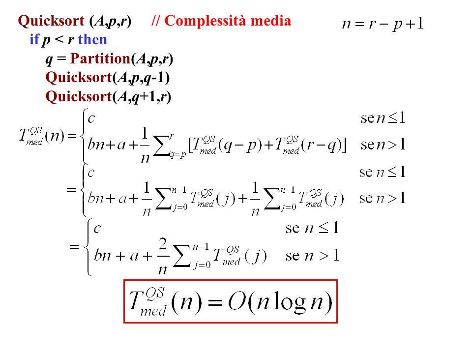 Quicksort (A,p,r) // Complessità media