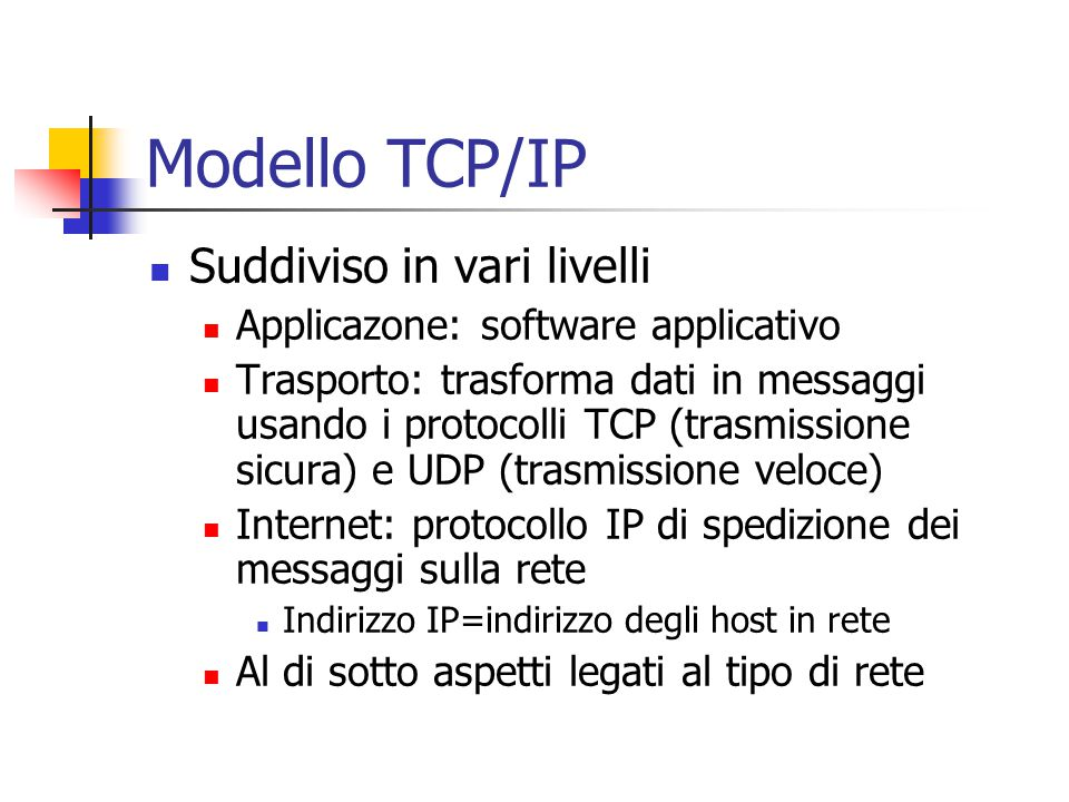 Modello TCP/IP Suddiviso in vari livelli