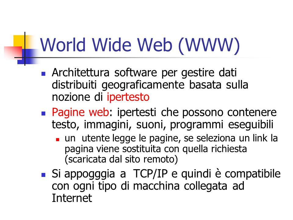 World Wide Web (WWW) Architettura software per gestire dati distribuiti geograficamente basata sulla nozione di ipertesto.