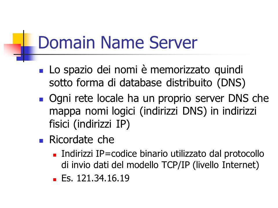 Domain Name Server Lo spazio dei nomi è memorizzato quindi sotto forma di database distribuito (DNS)