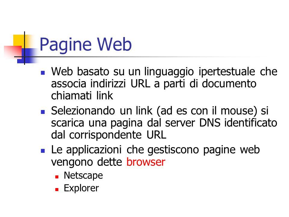 Pagine Web Web basato su un linguaggio ipertestuale che associa indirizzi URL a parti di documento chiamati link.